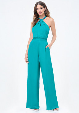 bebe Twist Neck Halter Jumpsuit