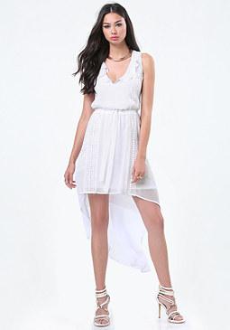 bebe Ruffle Neck Hi-Lo Dress