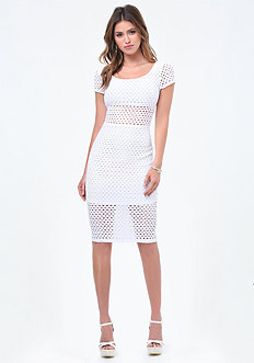 Eyelet Short Sleeve Dress