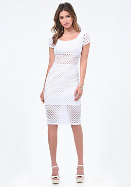 bebe Eyelet Short Sleeve Dress