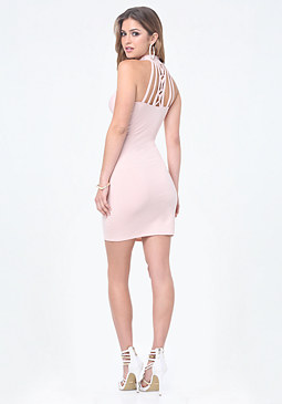 bebe Logo Cage Back Mini Dress