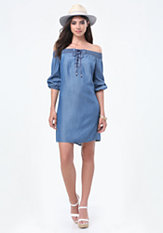bebe Chambray Off Shoulder Dress