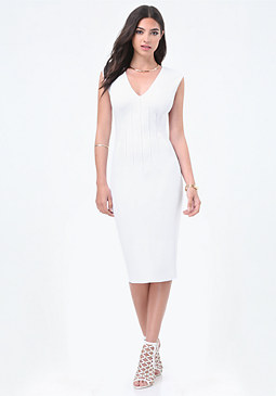bebe Petite Pintuck Midi Dress
