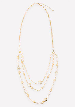 bebe Logo Faux Pearl Necklace