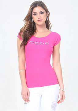 bebe Logo Double Scoop Tee