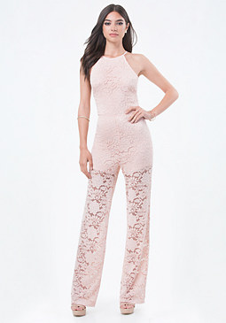 bebe Lace Crisscross Jumpsuit