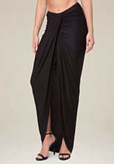 bebe Shirred Front Maxi Skirt