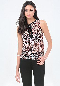 bebe Print Lace Up Top