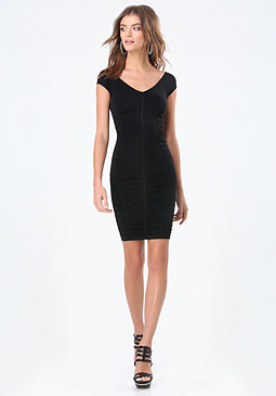 bebe Sheri Shirred Bodycon Dress