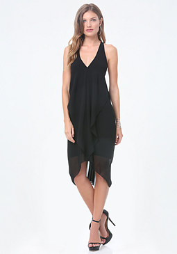 bebe Solid Draped Dress