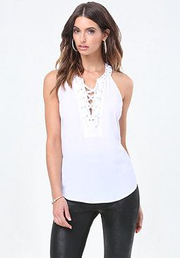 bebe Laced Grommet Top
