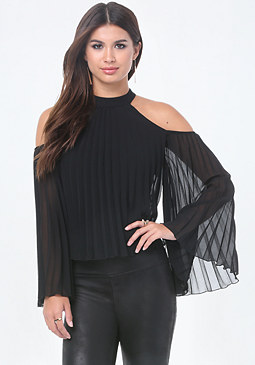 bebe Pleated Cold Shoulder Top