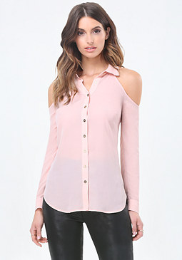 bebe Cold Shoulder Button Shirt