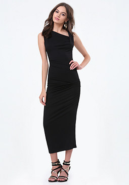 bebe Petite Shirred Midi Dress