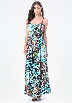 bebe Carrie Belted Maxi Dress