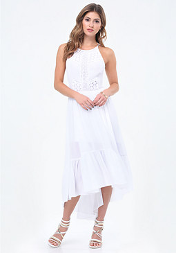 bebe Tie Back Hi-Lo Maxi Dress