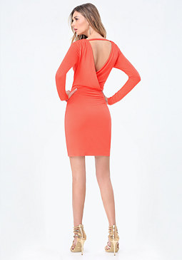 bebe Draped Back Jersey Dress