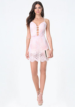bebe Lace Plunge Front Dress