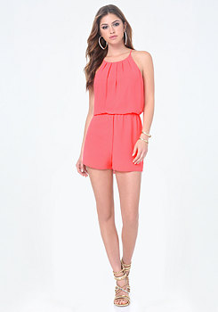 bebe Pleated Blouson Romper