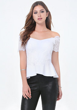 bebe Scallop Lace Peplum Top