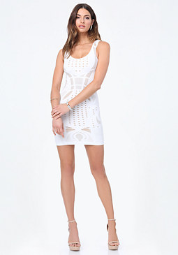 bebe Dame Openwork Bodycon Dress