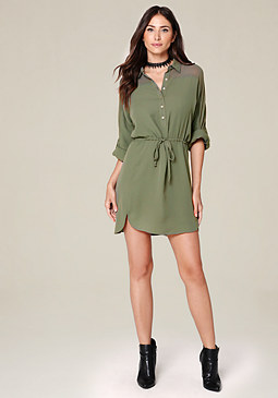 bebe Roll Sleeve Shirtdress