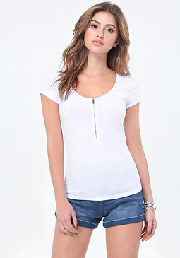 bebe Ribbed Front Zip Tee