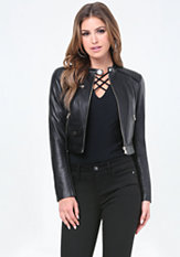 bebe Leather Zip Moto Jacket