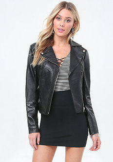 Leather Pintuck Moto Jacket