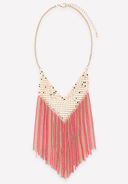 bebe Chain Fringe Mesh Necklace