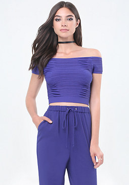 bebe Ribbed & Ruched Crop Top