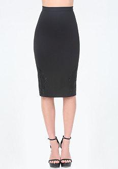 Embroidered Hem Midi Skirt