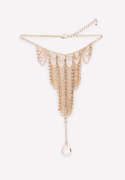 bebe Crystal Chain Foot Jewelry