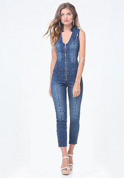 bebe Denim Zip Crop Jumpsuit