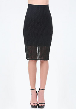 bebe Striped Mesh Midi Skirt