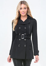 bebe Zip Detail Trench Coat