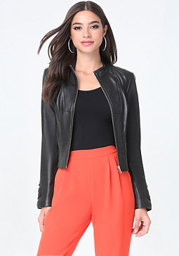 bebe Seamed Leather Jacket