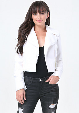 bebe Faux Fur Short Jacket