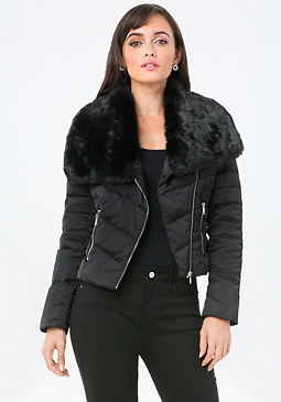 bebe Faux Fur Puffer Jacket