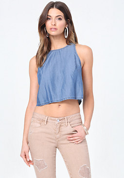 bebe Washed Indigo Swing Top