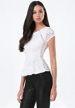 bebe Lace Cap Sleeve Peplum Top
