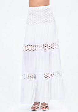 bebe Lace Inset Maxi Skirt