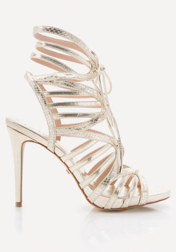 bebe Eletta Lace Up Cage Sandals