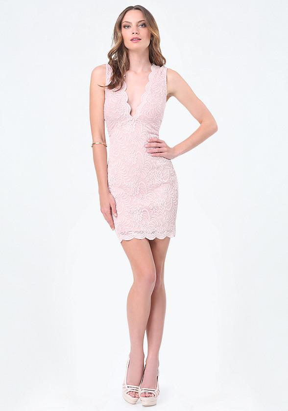 Scallop Lace Plunge Dress