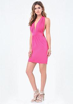 Slinky Plunge Mini Dress