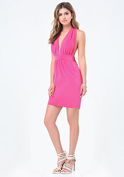bebe Slinky Plunge Mini Dress