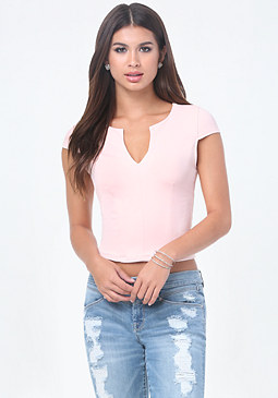 bebe Split Neck Top
