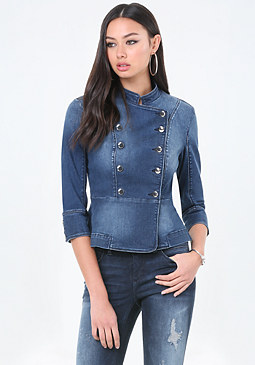 bebe Denim Military Jacket