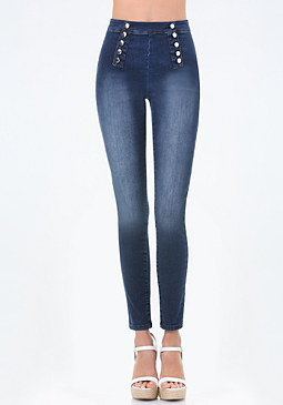 bebe High Rise Button Jeans