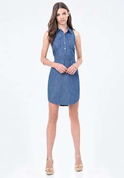 bebe Chambray Hi-Lo Shirtdress